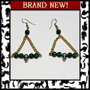 Swinging Skull Earrings with Malachite Stone